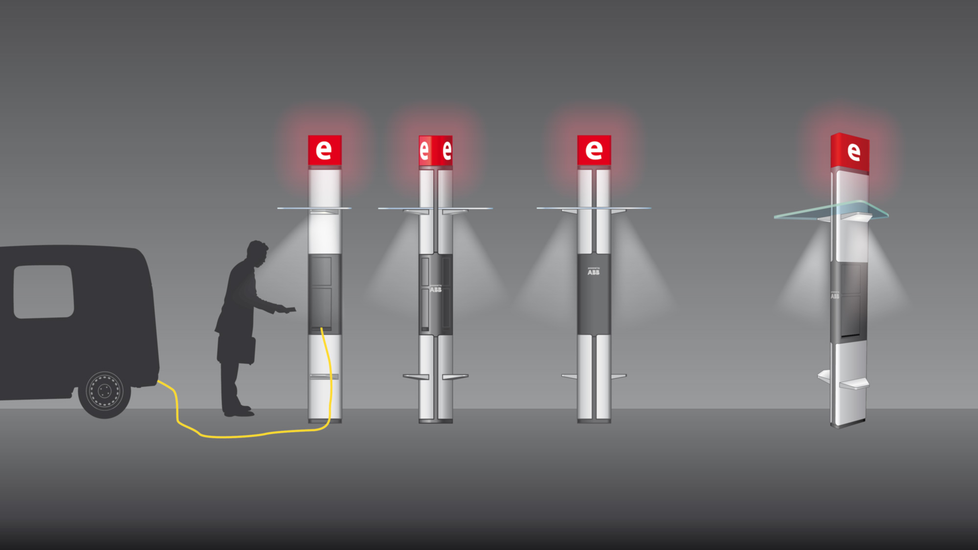 Illustration Elektrotankstelle ABB